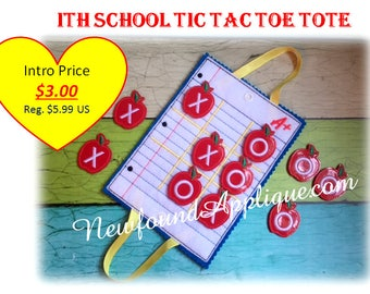 In The Hoop School Tic TTac Toe Embroidery Machine Design Set