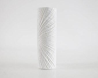 Mid Century Tall Op Art White Porcelain Vase - Wunsiedel, Bavaria 70s