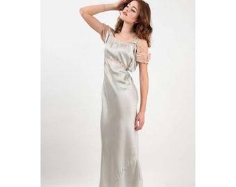 FLASH SALE... Silk nightgown / Vintage 1930s bias cut ice blue gown / S M L