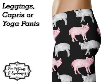Pig Sketch Leggings • Pig Yoga Pants • Pig Pants • Pig Clothing • Pig Clothes • Pig Gifts • Pig Love • Pig Lover • Gift for Pig Lover