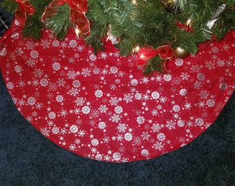 Red Silver Handmade Quilted Tree Skirt 42 Wide
