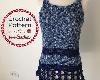 Crochet Tunic Pattern, Gulfport Tunic, Sleeveless Tee Crochet Pattern, Instant PDF Download