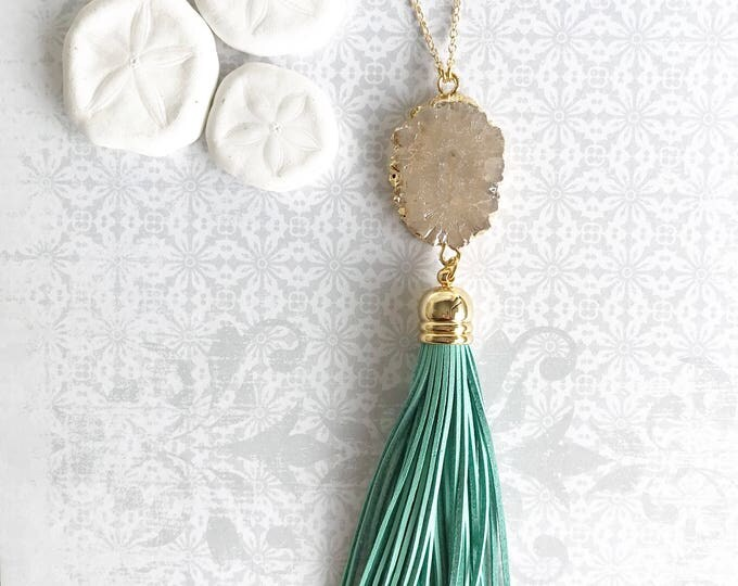 Tassel Necklace. Leather Tassel Necklace. Solar Quartz and Aqua Tassel Necklace. Long Tassel Necklace. Boho Tassel Jewelry Turquoise Jewelry