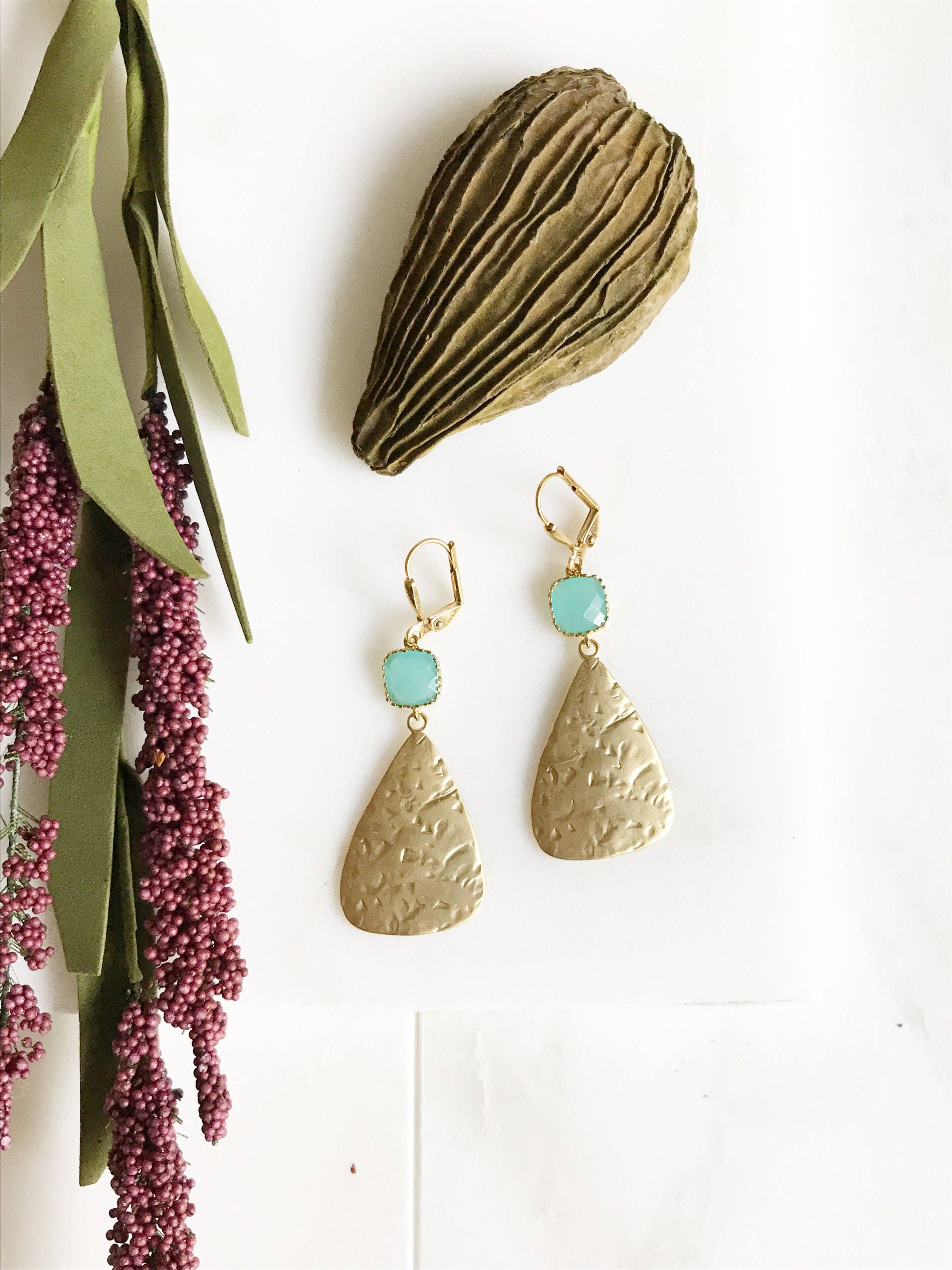 Turquoise Stone and Gold Chandelier Earrings Dangle Earrings
