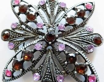 SALE  Brooch Antiqued with Rhinestones Pink Lavender Topaz Victorian Revival