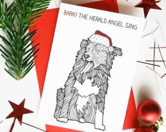 Funny Dog Christmas Card 'Bark! The Herald Angel Sing' Dog Puns