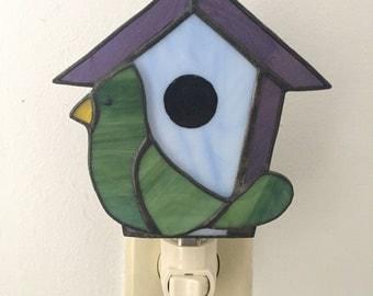 stained glass purple birdhouse nightlight with green bird