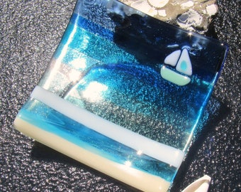 Fused Glass Plate, Glass Ocean Beach Decor, Glass Boat At Sea, Fused Glass Sailboat, Glass By The Sea, Aquamarine Glass, Turquoise Water