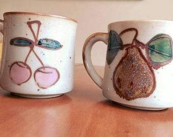 Vintage Handmade Glazed Stoneware Mugs