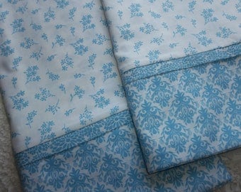 Baby Blue Floral Queen/Standard pillowcases love Pair romantic bed linens bedding nature cottage chic