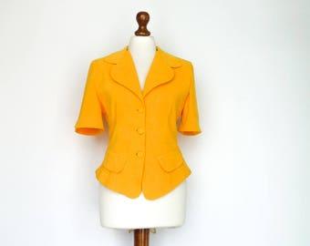 Vintage Womens Blazer Fitted / Bright Yellow / Short Sleeve / Jacket / Summer / Chic Classic Elegant / small medium