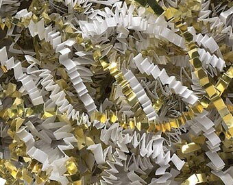 Shred  WHITE & METALLIC GOLD, Crinkle Paper, Filler Display, Bedding  ,Party Supplies, weddings, favors, gift wrap,  Gift Basket Shred,