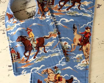 Vintage Western Baby Bib and Burp Cloth Set, Cowboy, Western Baby Gift, Cowboy Bib, Cowboy Burp Cloth