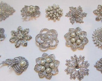 Rhinestone Brooch Lot Mixed 15 pieces Pearl Crystal Wedding Brooch Bouquet Brooch Bridal Button DIY Kit