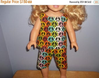 American 18 Inch Doll Clothes Top and Shorts black with colorful peace signs on it