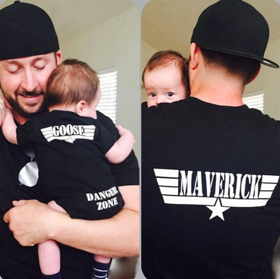 Father's Day Daddy and Baby Matching shirts Silver Metallic Aviator Sunglasses Maverick and Goose on Back Danger Zone on bum Black shirts
