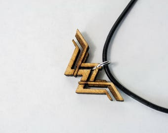Wonder Woman Logo Wood Pendant