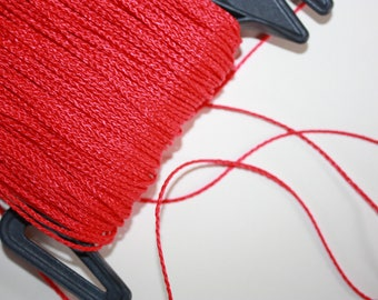 1.5 mm BRAIDED RED Cord = 1 Spool = 110 Yards = 100 Meters of Elegant Polypropylene Rope for Macrame, Sewing, Crocheting, Knitting