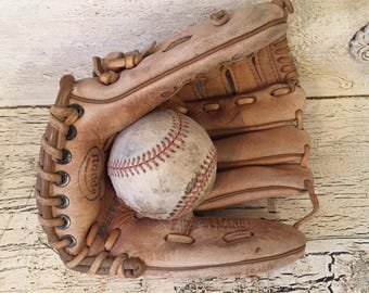 Vintage Kid's Leather Baseball and Glove - Rustic Decor - Game Room or Child's Room Decor