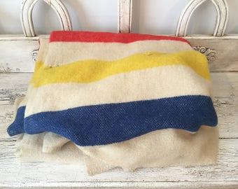Vintage Orrlaskan, Husdon Bay-Style Striped Wool Blanket - Rustic Cabin Decor