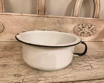 Vintage White Enamel Chamber Pot - Small