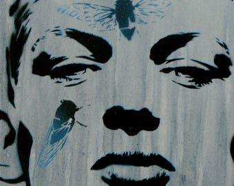 Male Model Painting 12x12 Gallery Canvas Figurative Art Male Body Graffiti Street Art Fashion Art Obey and Banksy Style Gay Art Summer Art
