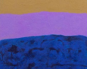 ON SALE Abstract Painting - Artist with Autism - Purple Mustard Blue