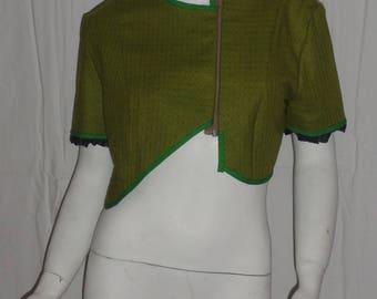 Short Halter bolero type jacket wool Green