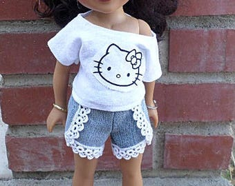 hello kitty off the shoulder top, denim lace shorts for 14 inch dolls