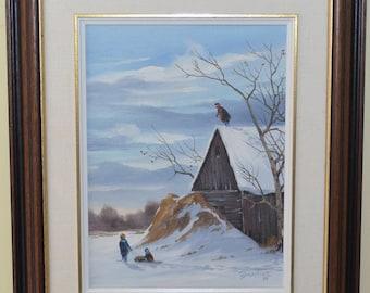 Allan Robert Thompson Original Oil on Board 1995 Children Snow with Sleds