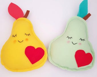 Felt Happy Pear Plush Toy/Decor - Kawaii Style!