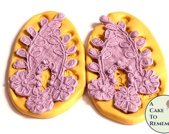 Beaded flower and leaf lace mold set, silicone mold for cake decorating, chocolate, polymer clay, resin, cake lace, flexible mold M5179