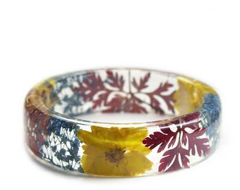 Real Dried Flower Jewelry- Resin Bangle- Yellow Flower Bracelet- Tan Jewelry -Boho Jewelry- Autumn Jewelry -Red Flower Jewelry- Fall Jewelry
