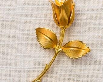 Gold Rose Brooch Flower Bud Etched Metal Vintage Broach Pin 7YY 44