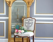 Vintage French Chair, Grain Sack Upholstery