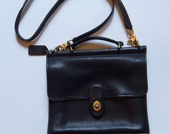 Vintage Coach Purse - Black Coach Purse - Coach Satchel - Crossbody Purse - Leather Coach