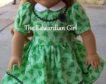 Two of a kind 1930s, 1940s green frog dress with black ric rac for 18 inch play dolls such as American Girl, Springfield, OG. Made in USA