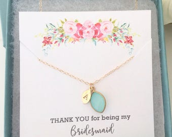 Bridesmaid Necklace / Personalized Necklace / Initial Necklace / Birthstone Necklace / Bridesmaid Gift / Gold Necklace / Flower Girl Gift