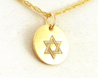 Gold Star of David Necklace - Gold Jewelry - Gold Star of David Jewelry - Jewish Necklace - Jewish Jewelry - Gold Judaica Jewelry