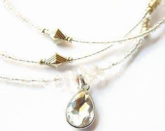 Crystal Quartz Waist Beads, African Waist Beads, Nubian Waist Beads,  Clear Crystal Quartz Teardrop Belly Chain, Clear Crystal Waist Chain
