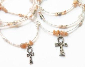 Mama & Daughter Moonstone Waist Beads, Ankh Jewelry Set, African Waist Beads,  Heirloom Moonstone Waist Beads, Ankh Gift Set