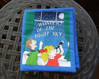Wonders of the Night Sky Quiet Soft Cloth Baby Toddler Story Book Handmade Ready to Read