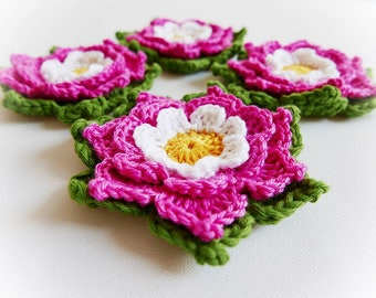 Set of Two Adelie Crochet Flower