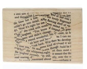 Hampton Art Newspaper Cluster Paper Shards Wooden Rubber Stamp