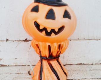 Vintage Jack O Lantern Blow Mold Halloween Pumpkin Haystack Black Orange Plastic Light Up Indoor Outdoor Tabletop Window