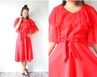 20% OFF JULY 4th SALE Vintage formal red short sleeve dress // modest ruffle dress // prom dress // sheer chiffon 60's dress // 80's tie wai