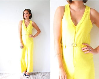 30% OFF SALE Vintage yellow jumper dress // yellow jumpsuit // bright yellow romper // boho summer pantsuit // small overall jumper style 90