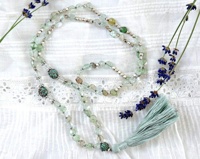 aquamarin handknotted tassel necklace, aquamarine gemstone necklace with silver accents and turquoise beads, boho necklace, summer