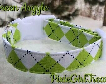 LAST ONE! Green Dog Collar, Argyle Dog Collar, Green Argyle Dog Collar, Preppy Dog Collar, Summer Dog Collar, Dog Collar for Boy, Dog Collar