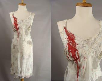 Vampire Victim Costume. Komar Full Slip. Sexy Zombie Costume. Custom Made Bloody Full Slip. DIrty Bloody Halloween Costume. Womens 40 L XL
